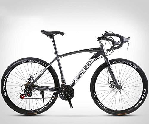 ZTYD 26 Pollici Bicicletta della Strada, 24 velocità Bici, Doppio Disco Freno, Acciaio al Carbonio Telaio, Strada Biciclette da Corsa, per Uomo e Donna per Soli Adulti,Grigio
