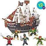 Barco Pirata con Piratas Modelos - Juguete perfecto para los Amantes de los Piratas, ideal para cumpleaños, regalo de Navidad, horas de diversión y entretenimiento.