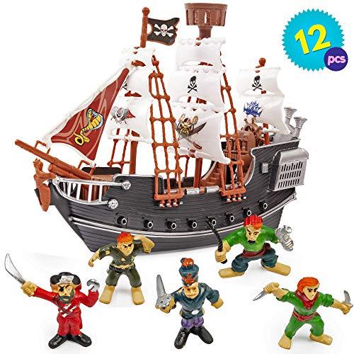Piratenschiff mit Piraten Figuren mit Piraten Ornamenten - Perfektes Spielzeug Schiff für Piratenliebhaber - ideales Innenspielzeug für Kinder - Stunden voller Spaß & Unterhaltu