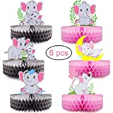 Mity rain 6 Pack Pink Elephant Honeycomb Centerpieces - Double-Sided Baby Girl Elephant Table Decorations Little Peanut Cutouts for It's A Girl Baby Shower Kids Birthday Party Supplies