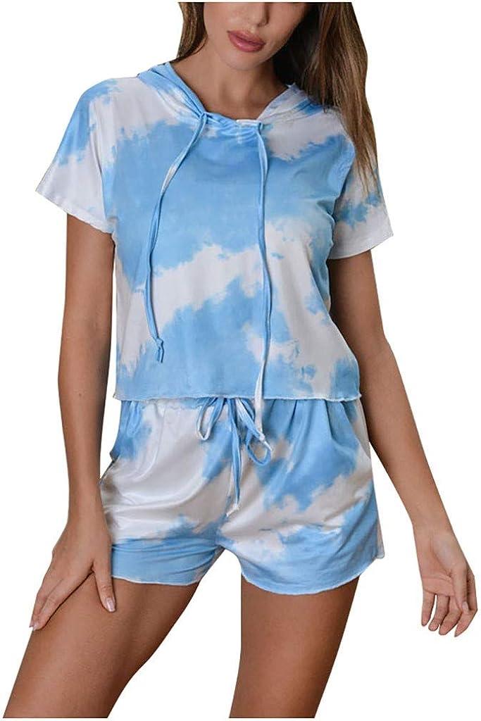 Pajamas for Women Shorts Set,Women Pajama Set Short Sleeve Hoodie Tie Dye Printed Sleepwear PJ Set Loungewear