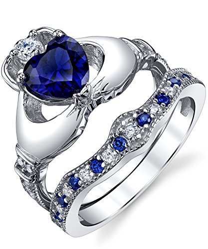 Sterling Silver 925 Irish Claddagh Friendship & Love Engagement Wedding Ring Sets Simulated Sapphire Blue Heart CZ Cubic Zirconia 6