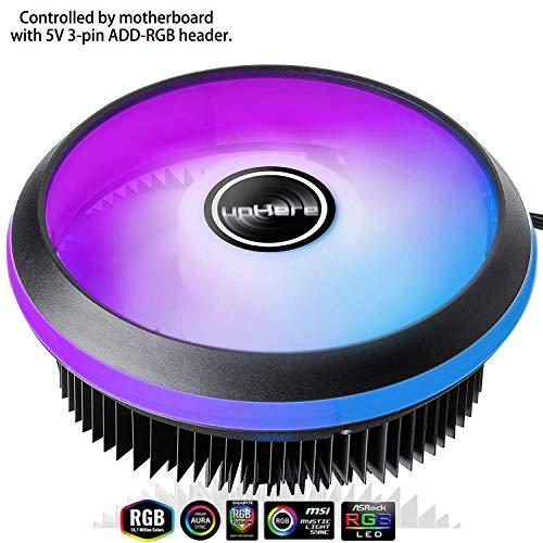 upHere CPU Luft Kühler mit 120mm PWM 5V SYNC LED Lüfter - Prozessorkühler für Intel Sockel - Unterstützt 5V ASUS Aura Sync/GIGABYTE RGB Fusion/MSI Mystic Light Sync-(ACC92RGB)