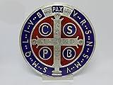 GTBITALY 69.080.31 Base medalla San Benito medida 10 cm plata esmaltada a mano con base expositor exorcista exorcismo