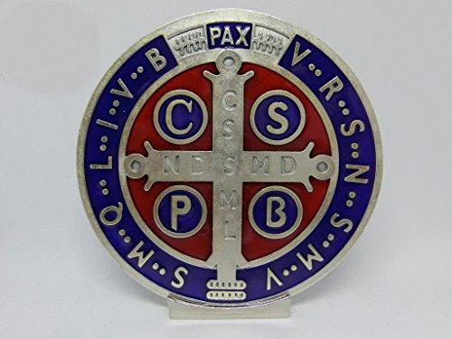 69.080.31Base Medalla San Benito tamaño 10cm plateado esmaltado a mano con base expositor esorcista esorcismo