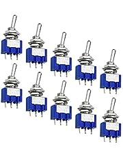 WEKON SPDT Toggle Switch 10 stuks tuimelschakelaar, mini-schakelaar, AC 125 V, 6 A, ON-ON 3 pins, 2 posities met metalen hendel, enkele aansluiting, microschakelaar voor Arduino auto, truck, miniatuur tuimelschakelaar