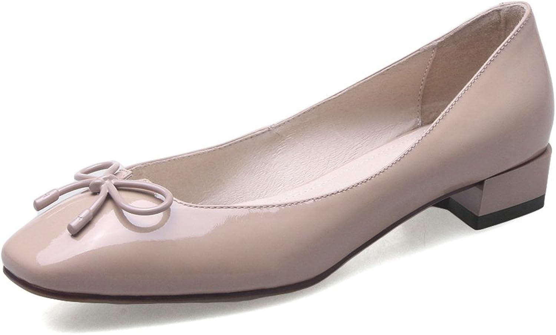 Nio Sju äkta äkta äkta läderskor, damSquare Toe Low Heel Handgjorda Pump skor med Bow  nya märkesvaror