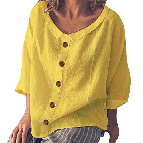iYmitz Damen street plain-rundhalsausschnitt leinenbluse sommer shirt z1-gelb 18 gb