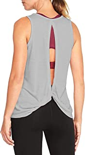 Mippo Women's Sexy Backless Workout Tank Yoga Active Tops Open Back Knot Shirt