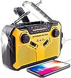 Skwpepe Radio portátil de manivela solar de emergencia, NOAA, radio...