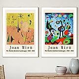 YCHND Joan Miro Modular Gallery Wall Cuadros Pop Art Canvas Pintura Famosos Artistas Posters E Impresiones para La Salon De Estar Surrealism Decor 50x70cmx2 Sin Marco