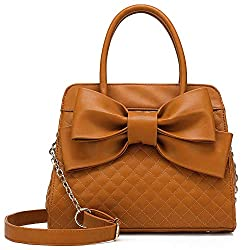 A cute quilted bow top handle satchel purse for girls