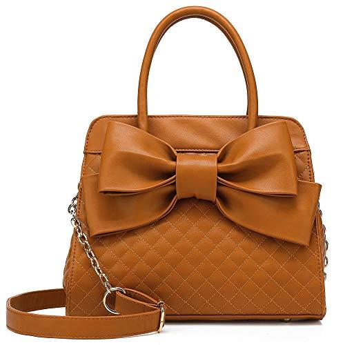 Scarleton Quilted Satchel Handbag for Women, Shoulder Bag for Women, Purses for women, Tote bag for Women, H104804N - Brown