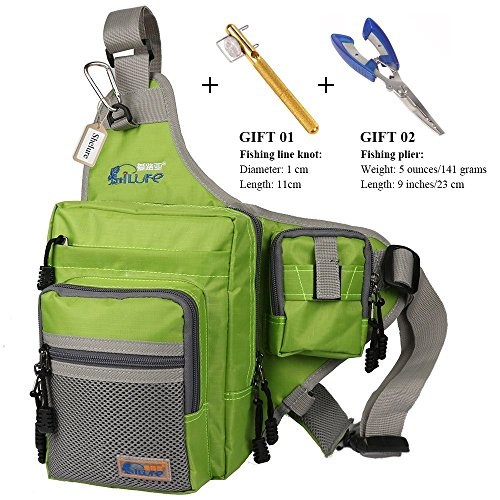 Anglerbasics Shoulder Bag Fishing Tackle Bag Chest Bag Crossbody Messenger Sling Bags Outdoor Sports Hiking Travel(Green+Plier+Fishing Knot)
