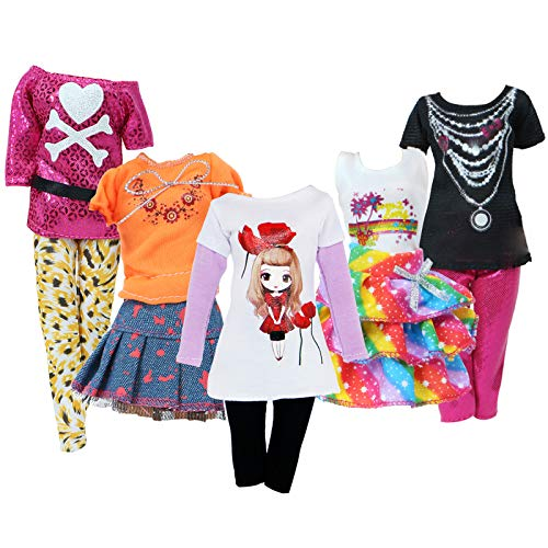 BJDBUS 5 Sets Colorful Outfit Short Sleeves Shirt Vest Blouse Pants Denim Skirt Fashion Clothes for 11.5 inch Girl Doll Dressing Up Accessories