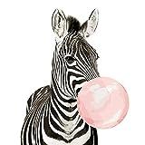 SiJOO Zebra Che soffia Bolla Animale Pittura Digitale Fai da Te Digitale Moderna Arte della Parete Pittura su Tela Decorazione della casa 40x50 cm
