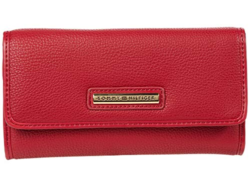 Tommy Hilfiger Signature Dome Bar Pebble PVC Continental Wallet Tommy Red One Size