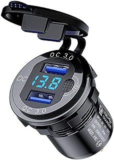 jiheousty 12V 24V 18W Aluminium wasserdicht Dual QC3.0 USB Schnellladegerät Steckdose mit LED Voltmeter Schalter für Auto Marine Truck