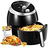 Air Fryer, Tidylife 6.3 QT Air Fryer XL with Smart Time & Temperature Control, 1700W with 7 Cooking Preset, 180-400℉Oilless Nonstick Basket Hot Air Fryer, Auto Shut Off with 50+Recipes(6.3QT) (Renewed)