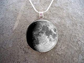 Bloody devil Art Picture Necklace,Waxing Gibbous Moon Phase Jewelry - Astronomy & Science Gift - 1 Inch Diameter Glass Pendant for Necklace or Key Chain -