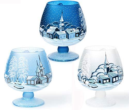 AROMA HOME STUDIO ART PAINTING Set Weihnachten Windlicht Teelichthalter Weinglas klein x3 Stück; vol.2