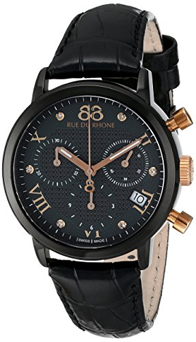 88 Rue Du Rhone Double 8 Origin Ladies Black Leather Diamond Watch...