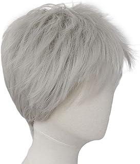 Wig Bangs LLLNHQ Matte Chemical Fiber High Temperature Silk Wig Male Gray Fluffy Short Hair Cosplay Head Props Rose Net