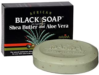 African Black Soap With Shea Butter & Aloe Vera by Madina 100% Vegetable Base 3.5 oz (3 Bars)... iwgl