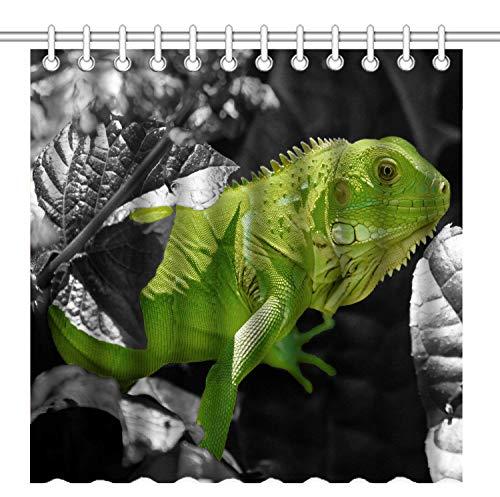 lovedomi Duschvorhang mit natürlichen Tiermotiven in den Sträuchern, grüner Leguana, schwarzes Blattmuster, wasserdichter Polyesterstoff, 183 x 183 cm, mit 12 Kunststoffhaken