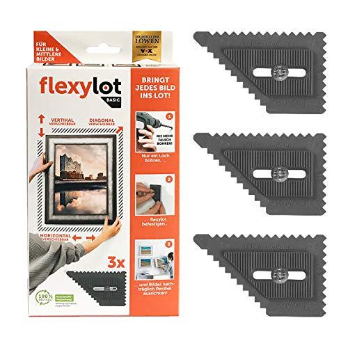 flexylot BASIC - 3 Bildaufhänger - stufenloses Ausrichten & korrigieren – zentimeterweit, millimetergenau - Bild Aufhänger für Bilder bis 7,5 Kg & 60 cm Breite (je Bildhalterung) - Rahmenhalter inkl.