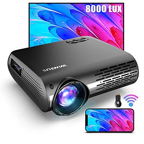 Beamer, WiMiUS 7500 LM Video Beamer Full HD 1920x1080P Unterstützung 4K Video 4D ± 50 ° Elektronische Korrektur LED Projektor Für Heimkino kompatibles Smartphone, Fire Stick, Xbox,PS5