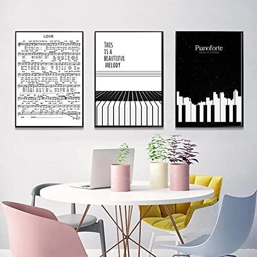 XNHXPH Nero Bianco Pianoforte Spartiti su Tela Pittura Morden Poster Stampa Minimalista Arte della Parete Nordic Semplice Soggiorno Complementi Arredo Casa Immagini 50x70cmx3 Senza Cornice