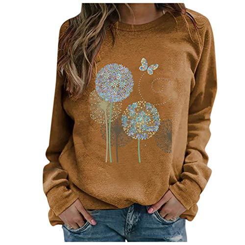 YANFANG Sudaderas Tops Casuales Damas Invierno para Mujer con Estampado de Girasol con Cuello rendondo Sudadera Blusa Camiseta Suéter 9 Colores