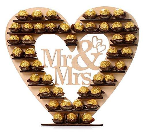 """ASVP Shop """"Mr & Mrs"""" Ferrero Rocher Herz Display Ständer Mittelstück Perfekt für Parties, Hochzeiten & Candy Bar"""
