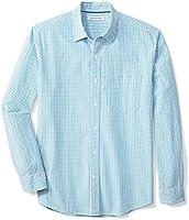 Amazon Essentials Men's Regular-Fit Long-Sleeve Gingham Poplin Shirt