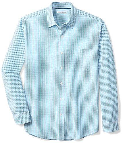 Amazon Essentials Long-Sleeve Regular-Fit Casual Poplin Shirt Camicia, Verde (Green/Blue), L
