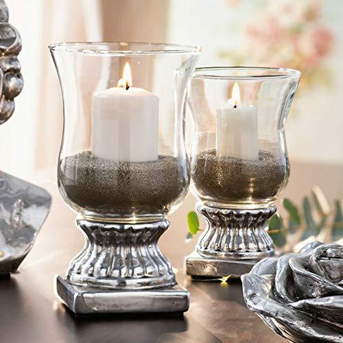 Dekoleidenschaft Windlicht Elegance Silber, 19 cm hoch, Kerzenhalter aus Steingut & Glas, Kerzenständer, Teelichthalter
