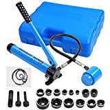 Yescom 9 Ton 6 Dies Hydraulic Knockout Punch Driver Kit Hand Pump Hole Tool with Carrying ...