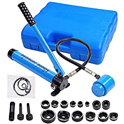 in budget affordable Yescom 9 ton 6 die hydraulic knockout punch driver kit manual hole pump tool, blue with carrying bag