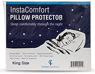 InstaComfort Allergy Pillow Covers Super Soft 100% Cotton Cases Hypoallergenic Pillowcase – Completely Silent Dust Mite Proof Protector - King Size Zippered Cover