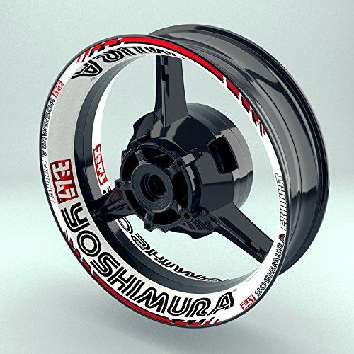 OneWheel Felgenaufkleber Set Yoshimura Motorrad (17 Zoll) - Fegenrandaufkleber und Felgenbettaufkleber für Vorder- & Hinterreifen (Design 2 - glänzend)