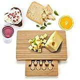 COSTWAY Tabla de Cortar Queso Cuchillos de Quesos Plato Set con 4 Piezas Juego de Cubiertos Rectangular Rebanador Bambú