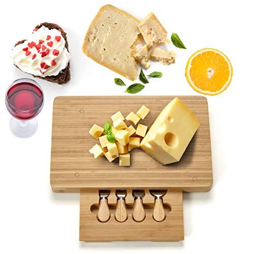*COSTWAY Käsebrett mit 4tlg. Besteck, Käseset aus Holz, Käseplatte multifunktional, Käsemesserset, Käseschneidbrett, Käsemesser Set, Servierplatte(rechteckig)*