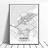 Almere Países Bajos Mapa abstracto lienzo pintura cartel decoración del hogar marco 40x60 cm
