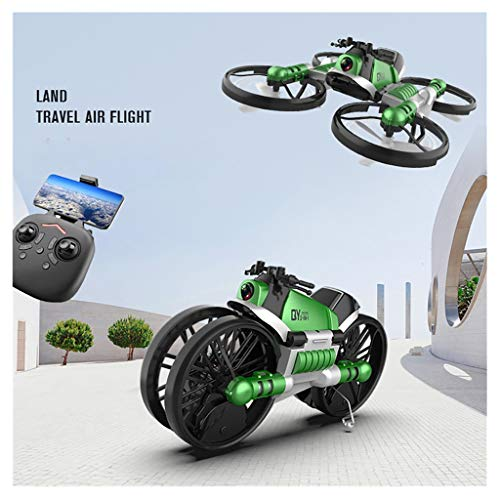 Oksale 2-In-1Motorcycle&Drone with Camera for Beginner and Kids,WiFi FPV Drone RC Helicopter Quadcopter with Auto Hovering,Headless Mode,Remote Control,One Key Take-Off or Landing (Green)