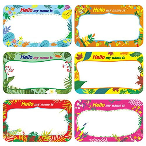 300 Pcs Name Tag Label Sticker in 6 Designs with Perforated Line for School Office Home (3.5'x2.2' Each) …