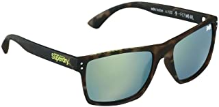 Superdry Men's Sunglasses Kobe - matte rubberised tortoise/yellow mirror lens - SDKOBE-122 - size 56-19-147, Brown
