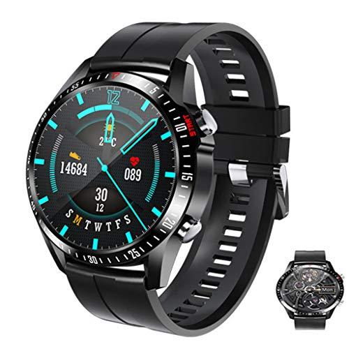 Smartwatch Inteligente para Hombre,Reloj Deportivo Resistente De 1.28 Pulgadas con 3ATM A Prueba De Agua, Presión Arterial, Monitoreo De Temperatura, Monitor De Frecuencia Cardíaca,Negro