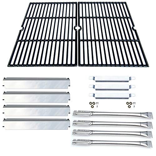 Direct Store Parts Kit DG167 Replacement for Charbroil Commercial Gas Grill 463268606,463268007 Grill Repair Kit (SS Burner + SS Carry-Over Tubes +SS Heat Plate + Porcelain Cast Iron Cooking Grid)