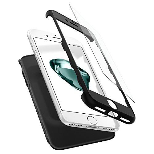 Spigen 042CS21098 Thin Fit 360 Kompatibel mit iPhone 7 Hülle, 360° Rundumschutz-Schale mit Gratis Panzerglas Handyhülle Schutzhülle Case Schwarz